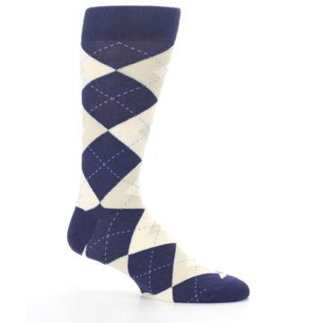 Image of Lapis Purple Champagne Argyle Men's Dress Socks (side-1-25)