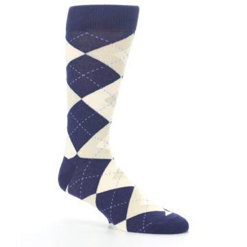 Image of Lapis Purple Champagne Argyle Men's Dress Socks (side-1-26)