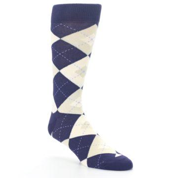 Image of Lapis Purple Champagne Argyle Men's Dress Socks (side-1-27)