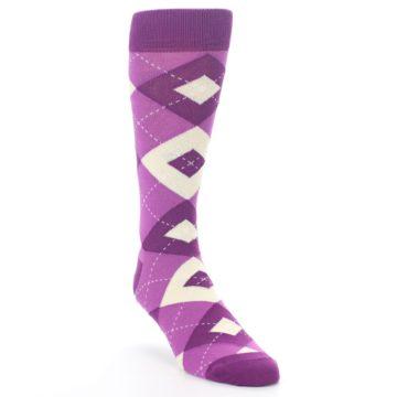 Image of Raspberry Argyle Men's Dress Socks (side-1-front-02)