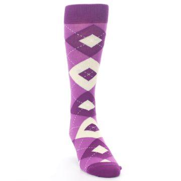 Image of Raspberry Argyle Men's Dress Socks (side-1-front-03)