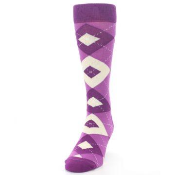 Image of Raspberry Argyle Men's Dress Socks (side-2-front-06)