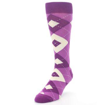 Image of Raspberry Argyle Men's Dress Socks (side-2-front-07)