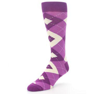 Image of Raspberry Argyle Men's Dress Socks (side-2-front-08)