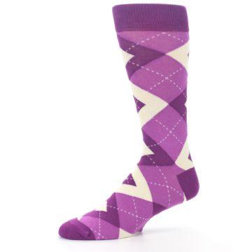 Image of Raspberry Argyle Men's Dress Socks (side-2-10)