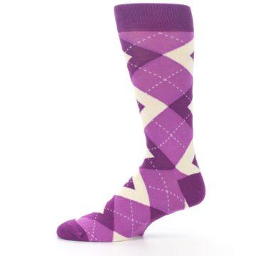 Image of Raspberry Argyle Men's Dress Socks (side-2-11)