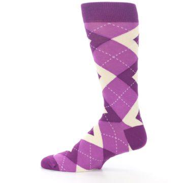 Image of Raspberry Argyle Men's Dress Socks (side-2-12)