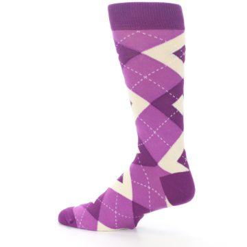 Image of Raspberry Argyle Men's Dress Socks (side-2-13)