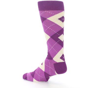 Image of Raspberry Argyle Men's Dress Socks (side-2-back-14)