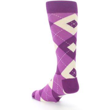 Image of Raspberry Argyle Men's Dress Socks (side-2-back-15)
