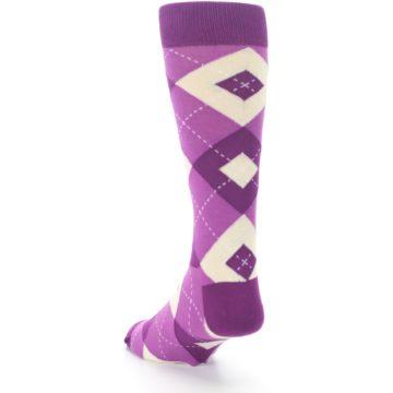 Image of Raspberry Argyle Men's Dress Socks (side-2-back-16)