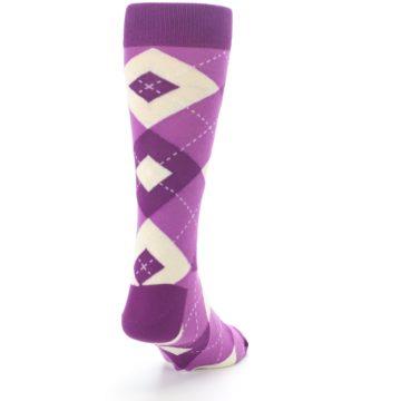 Image of Raspberry Argyle Men's Dress Socks (side-1-back-20)