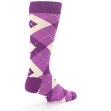 Image of Raspberry Argyle Men's Dress Socks (side-1-back-22)