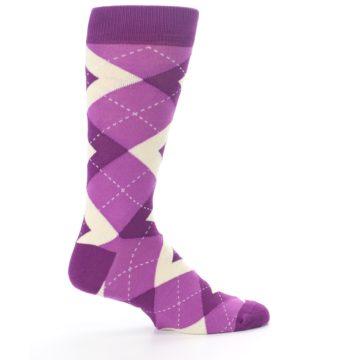 Image of Raspberry Argyle Men's Dress Socks (side-1-24)