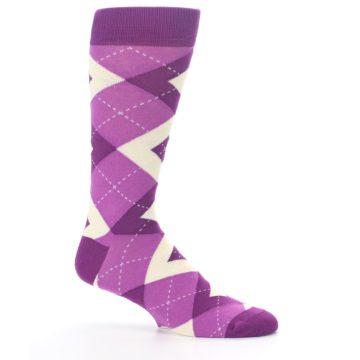 Image of Raspberry Argyle Men's Dress Socks (side-1-25)