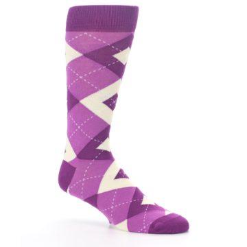 Image of Raspberry Argyle Men's Dress Socks (side-1-26)