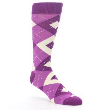 Image of Raspberry Argyle Men's Dress Socks (side-1-27)