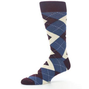 Image of Bordeaux Champagne Navy Argyle Men's Dress Socks (side-2-10)
