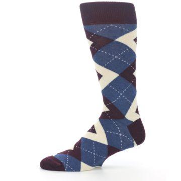 Image of Bordeaux Champagne Navy Argyle Men's Dress Socks (side-2-11)