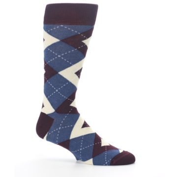 Image of Bordeaux Champagne Navy Argyle Men's Dress Socks (side-1-25)