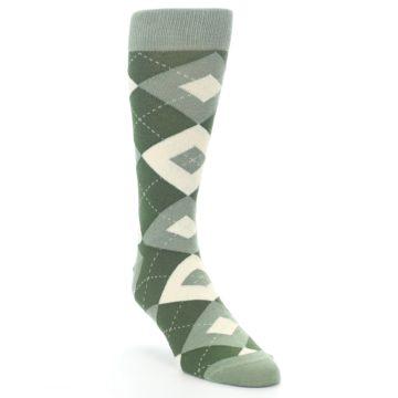 Image of Olive Green Argyle Men's Dress Socks (side-1-front-02)
