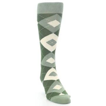 Image of Olive Green Argyle Men's Dress Socks (side-1-front-03)