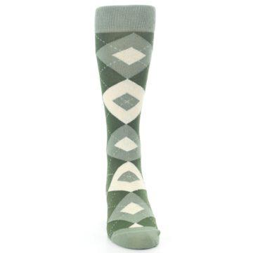 Image of Olive Green Argyle Men's Dress Socks (front-04)