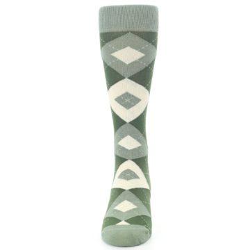 Image of Olive Green Argyle Men's Dress Socks (front-05)