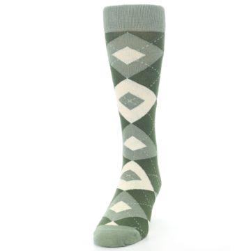 Image of Olive Green Argyle Men's Dress Socks (side-2-front-06)