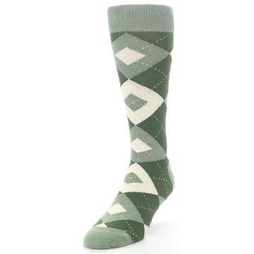Image of Olive Green Argyle Men's Dress Socks (side-2-front-07)