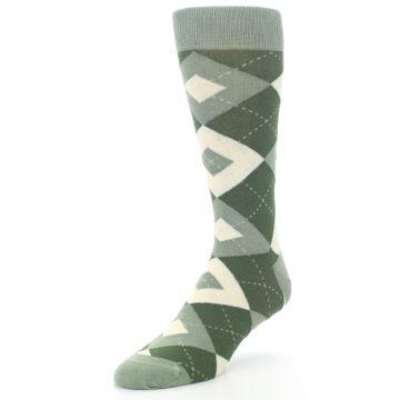 Image of Olive Green Argyle Men's Dress Socks (side-2-front-08)