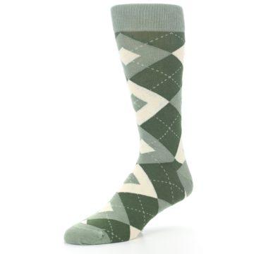 Image of Olive Green Argyle Men's Dress Socks (side-2-09)