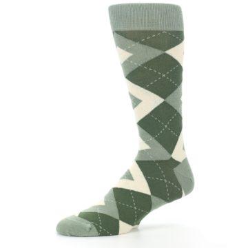 Image of Olive Green Argyle Men's Dress Socks (side-2-10)