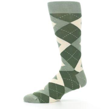 Image of Olive Green Argyle Men's Dress Socks (side-2-11)