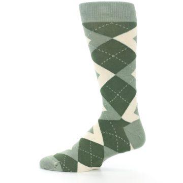 Image of Olive Green Argyle Men's Dress Socks (side-2-12)