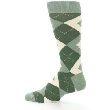 Image of Olive Green Argyle Men's Dress Socks (side-2-13)