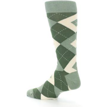 Image of Olive Green Argyle Men's Dress Socks (side-2-back-14)