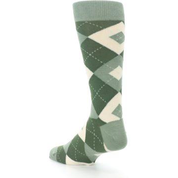 Image of Olive Green Argyle Men's Dress Socks (side-2-back-15)