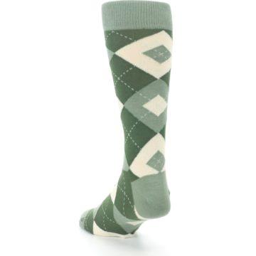 Image of Olive Green Argyle Men's Dress Socks (side-2-back-16)