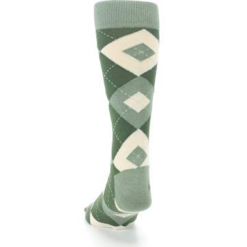 Image of Olive Green Argyle Men's Dress Socks (back-17)