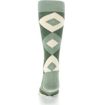 Image of Olive Green Argyle Men's Dress Socks (back-18)