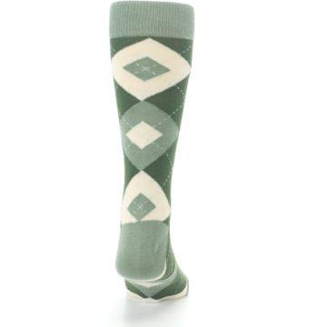 Image of Olive Green Argyle Men's Dress Socks (back-19)