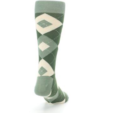 Image of Olive Green Argyle Men's Dress Socks (side-1-back-20)