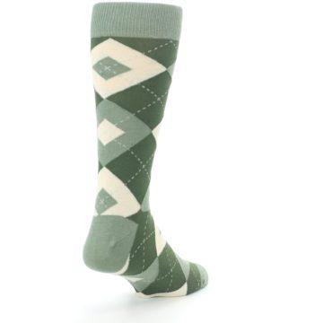 Image of Olive Green Argyle Men's Dress Socks (side-1-back-21)