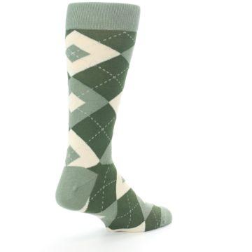 Image of Olive Green Argyle Men's Dress Socks (side-1-back-22)
