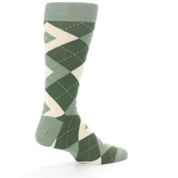 Image of Olive Green Argyle Men's Dress Socks (side-1-23)