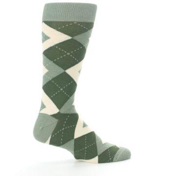 Image of Olive Green Argyle Men's Dress Socks (side-1-24)
