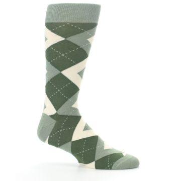 Image of Olive Green Argyle Men's Dress Socks (side-1-25)