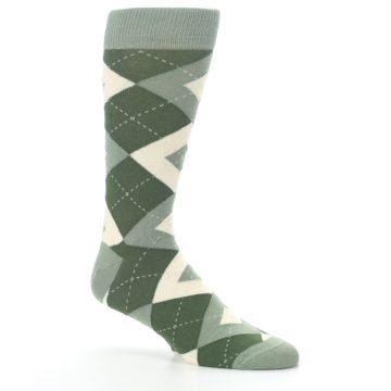 Image of Olive Green Argyle Men's Dress Socks (side-1-26)