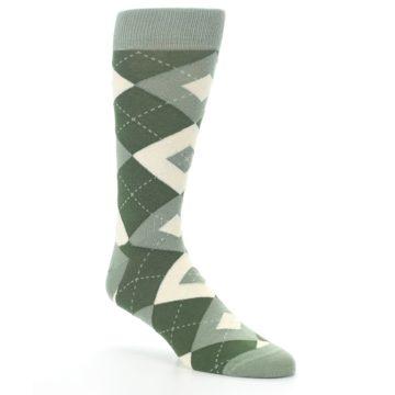 Image of Olive Green Argyle Men's Dress Socks (side-1-27)